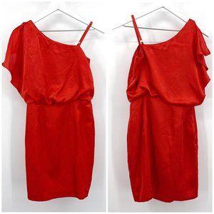 Calvin Klein Red Satin Roman Shoulder Party Dress